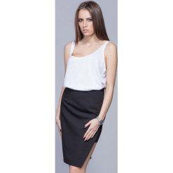 Spódniczki: Czarna Oryginalna Asymetryczna Spódnica Ołówkowa