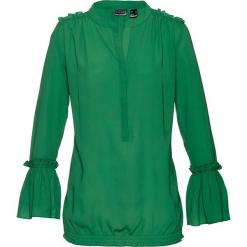 Bluzka bonprix zielony. Zielone bluzki asymetryczne bonprix, z dekoltem w serek, z krótkim rękawem. Za 74,99 zł.