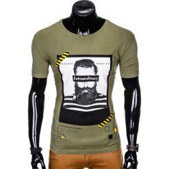 T-shirty męskie: T-SHIRT MĘSKI Z NADRUKIEM S994 - KHAKI