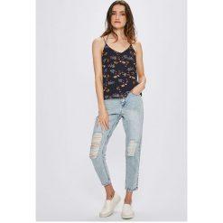 Vero Moda - Top. Niebieskie topy damskie marki Vero Moda, z bawełny. W wyprzedaży za 59,90 zł.
