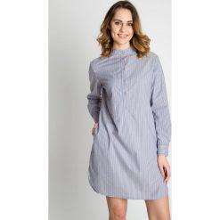 Sukienki hiszpanki: Niebieska sukienka zapinana na guziki BIALCON