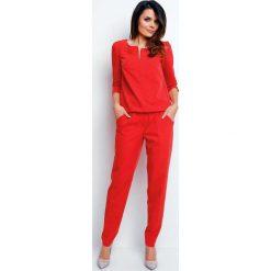 Odzież damska: Czerwony Stylowy Kombinezon z Suwakiem przy Dekolcie