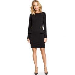 Długie sukienki: Elegancka Sukienka z Baskinką i Suwakami - Czarny