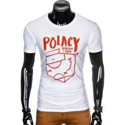 T-shirty męskie: T-SHIRT MĘSKI Z NADRUKIEM S966 - BIAŁY