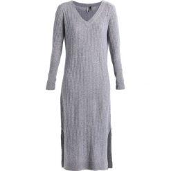 Topshop V NECK DRESS Długa sukienka grey as sample. Niebieskie długie sukienki Topshop, m, z kaszmiru, z długim rękawem. W wyprzedaży za 395,45 zł.