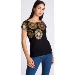 Bluzki damskie: Czarna bluzka ze złotym printem QUIOSQUE