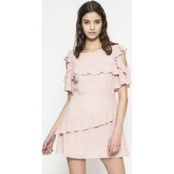 Answear - Sukienka. Szare sukienki mini marki ANSWEAR, na co dzień, m, z materiału, casualowe, z okrągłym kołnierzem, proste. W wyprzedaży za 69,90 zł.