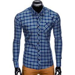 Koszule męskie na spinki: KOSZULA MĘSKA W KRATĘ Z DŁUGIM RĘKAWEM K418 – GRANATOWA/ZIELONA