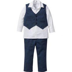 Koszula + kamizelka + spodnie (3 części) bonprix ciemnoniebiesko-biały. Białe bluzki dziewczęce w paski marki bonprix, z klasycznym kołnierzykiem, z długim rękawem. Za 79,99 zł.
