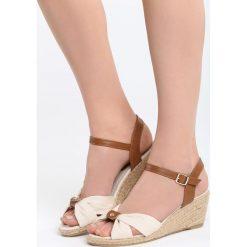 Beżowe Sandały We're Going. Brązowe sandały damskie marki Born2be, z materiału, na koturnie. Za 79,99 zł.