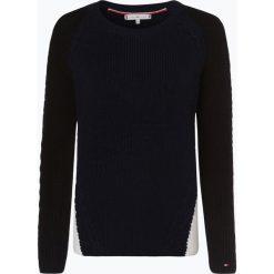 Tommy Hilfiger - Sweter damski, niebieski. Niebieskie swetry klasyczne damskie TOMMY HILFIGER, l, z kontrastowym kołnierzykiem. Za 599,95 zł.