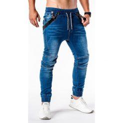 SPODNIE MĘSKIE JEANSOWE JOGGERY P448 - NIEBIESKIE. Niebieskie joggery męskie marki Ombre Clothing, z bawełny. Za 84,00 zł.