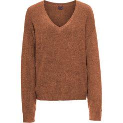 Swetry damskie: Sweter dzianinowy oversize bonprix miedziany melanż