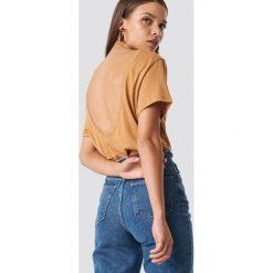 NA-KD Basic T-shirt z odkrytymi plecami - Brown,Beige,Yellow. Różowe t-shirty damskie marki NA-KD Basic, z bawełny. Za 40,95 zł.