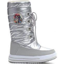 Srebrne Śniegowce Mindy. Szare kozaki dziewczęce marki Born2be, z materiału, z okrągłym noskiem, na platformie. Za 99,99 zł.