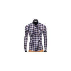 KOSZULA MĘSKA W KRATĘ Z DŁUGIM RĘKAWEM K396 - GRANATOWY/BRĄZOWY. Brązowe koszule męskie na spinki marki Ombre Clothing, m, z aplikacjami, z kontrastowym kołnierzykiem, z długim rękawem. Za 49,00 zł.