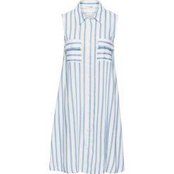 Sukienka bonprix biało-jasnoniebieski w paski. Białe sukienki hiszpanki bonprix, na imprezę, w paski, sportowe, sportowe. Za 89,99 zł.