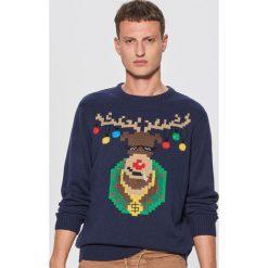 Świecący sweter z reniferem - Granatowy. Niebieskie swetry klasyczne męskie marki QUECHUA, m, z elastanu. Za 119,99 zł.