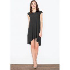 Sukienki asymetryczne: Czarna Rozkloszowana Asymetryczna Sukienka z Półrękawkiem