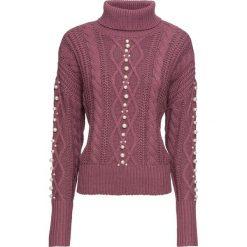 Golfy damskie: Sweter w warkocze, z perełkami bonprix matowy jeżynowy