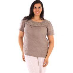 """T-shirty damskie: Lniana koszulka """"Geneve"""" w kolorze szarobrązowym"""