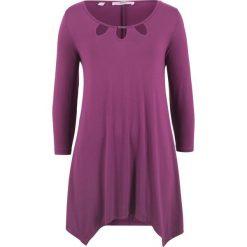 Tunika shirtowa, rękawy 3/4 bonprix fiołkowy. Fioletowe tuniki damskie marki DOMYOS, l, z bawełny. Za 89,99 zł.