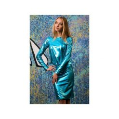Sukienka Malediva. Szare sukienki dzianinowe marki BE, s, z nadrukiem, eleganckie, z klasycznym kołnierzykiem. Za 255,00 zł.