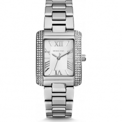 """Zegarek kwarcowy """"Petite Emery"""" w kolorze srebrnym. Szare, analogowe zegarki damskie Michael Kors, srebrne. W wyprzedaży za 454,95 zł."""