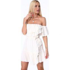Sukienki: Sukienka z falbanami kremowa ZZ374
