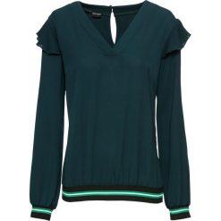 Bluzka z kontrastowymi paskami bonprix ciemnozielony. Zielone bluzki z odkrytymi ramionami bonprix, w paski, z kontrastowym kołnierzykiem. Za 59,99 zł.