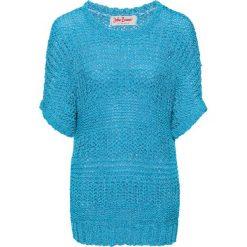Swetry klasyczne damskie: Sweter z przędzy tasiemkowej, rękawy do łokcia bonprix turkusowy melanż