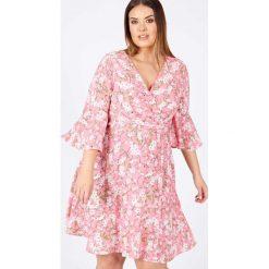 Sukienki hiszpanki: Sukienka rozkloszowana, rozszerzana, półdługa, z nadrukiem