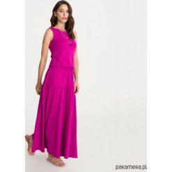 Sukienka BOHEMA fuksja długa. Czerwone długie sukienki marki Pakamera, z wiskozy, z długim rękawem. Za 279,00 zł.