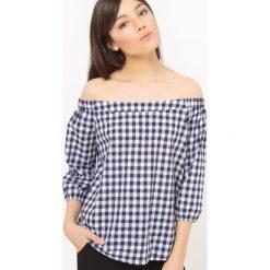 Bluzki asymetryczne: Bluzka odsłaniająca ramiona, kratka vichy, kokarda z tyłu
