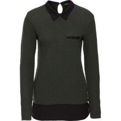 Swetry klasyczne damskie: Sweter z bluzką 2 w 1 bonprix oliwkowo-czarny