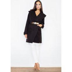 Płaszcze damskie: Czarny Krótki Stylowy Płaszcz z Dużym Kołnierzem bez Zapięcia