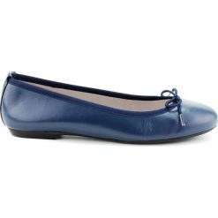 Baleriny damskie: Skórzane baleriny w kolorze niebieskim