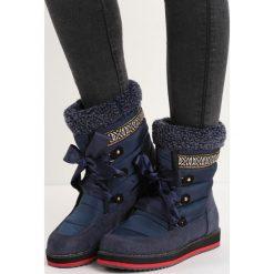Granatowe Śniegowce Engild. Czarne buty zimowe damskie Born2be, z materiału, przed kolano. Za 99,99 zł.
