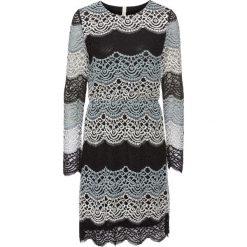 Sukienka koronkowa bonprix jasnoszaro-czarno-biały wzorzysty. Szare sukienki balowe bonprix, z koronki, z długim rękawem. Za 179,99 zł.