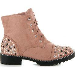 Zamszowe workery Dissemble. Brązowe botki damskie na zamek Ideal Shoes, z zamszu. Za 139,00 zł.