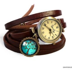 Bransoletki damskie: Bransoletka zegarek skórzany Złociste drzewo 605