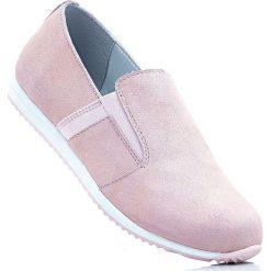 Buty wsuwane ze skóry welurowej bonprix dymny różowy. Szare buty sportowe damskie marki bonprix, z materiału. Za 59,99 zł.