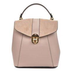 Plecaki damskie: Skórzany plecak w kolorze pudrowym – (S)22 x (W)22 x (G)12,5 cm