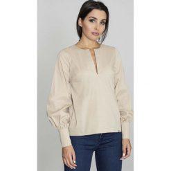 Bluzki damskie: Beżowa Bluzka Koszulowa z Rozcięciem przy Dekolcie