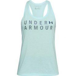 Top w kolorze jasnoniebieskim. Niebieskie topy sportowe damskie marki Under Armour, xs, z nadrukiem, z materiału, z okrągłym kołnierzem. W wyprzedaży za 64,95 zł.