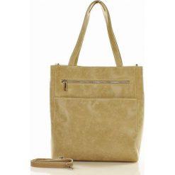 CLAUDIA - Torebka skórzana italian bag MAZZINI beżowa pzrecierany. Brązowe torebki klasyczne damskie MAZZINI, w paski, ze skóry, duże. Za 299,00 zł.