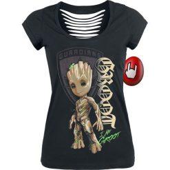 Guardians Of The Galaxy 2 - Groot Shield Koszulka damska czarny. Czarne bluzki asymetryczne Guardians Of The Galaxy, s, z nadrukiem, z dekoltem na plecach. Za 79,90 zł.