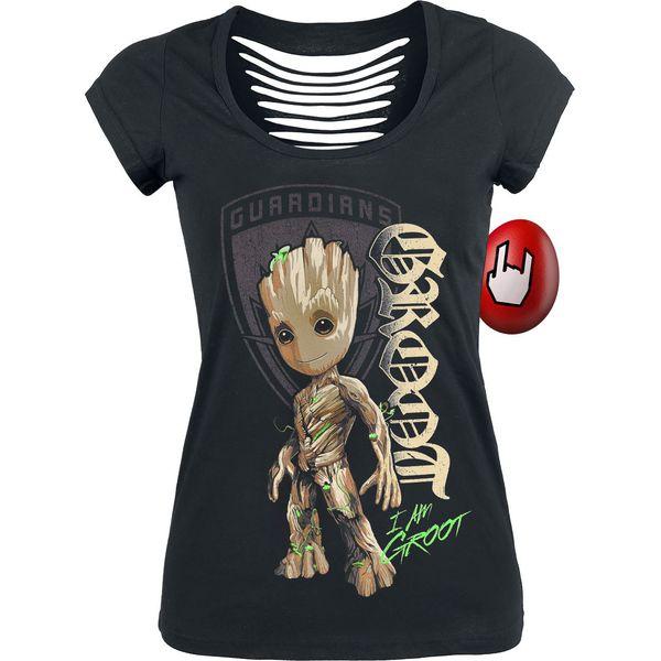 6d73bacf0 Guardians Of The Galaxy 2 - Groot Shield Koszulka damska czarny ...