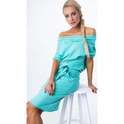Sukienka Miętowa z wiązaniem 9978. Czerwone sukienki marki Fasardi, l. Za 59,00 zł.
