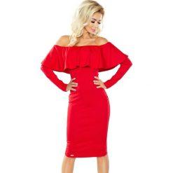 Czerwona Sukienka Midi z Dekoltem Carmen. Czerwone sukienki balowe Molly.pl, na co dzień, l, w jednolite wzory, z falbankami, z długim rękawem, midi, ołówkowe. Za 179,90 zł.